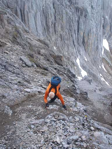 Ascending the loose terrain towards center peak