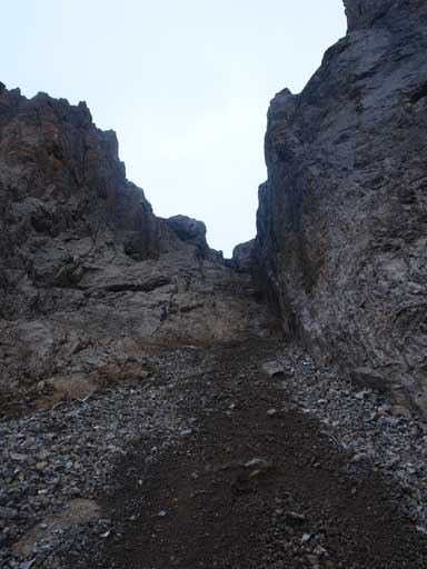 We came down this gully from center peak