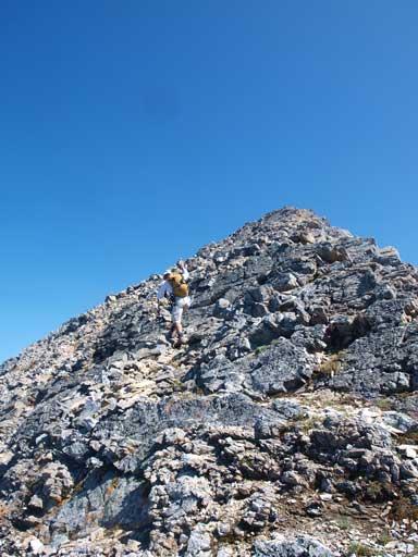 Dan walking up the upper slope. The summit wasn't far.