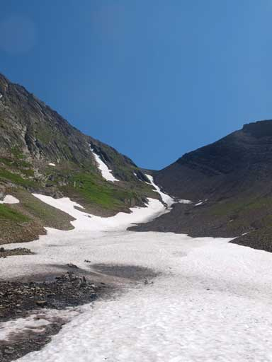 Looking back at the big gully