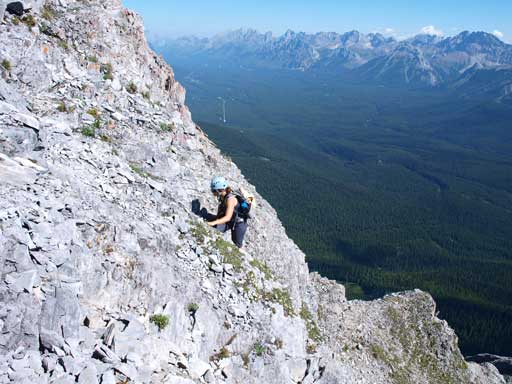 Andrea scrambling up typical terrain