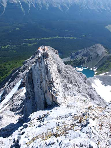 Looking back down at a pinnacle we just bypassed