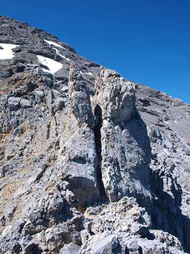 The crux ahead. You need to climb up this chimney