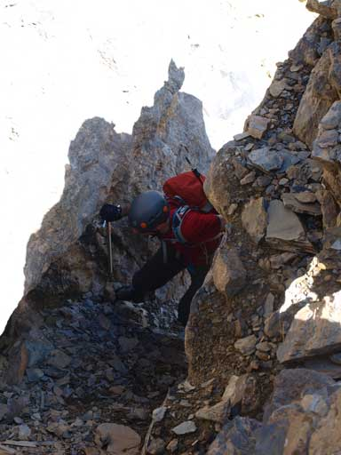 Mike ascending a gully/chimney