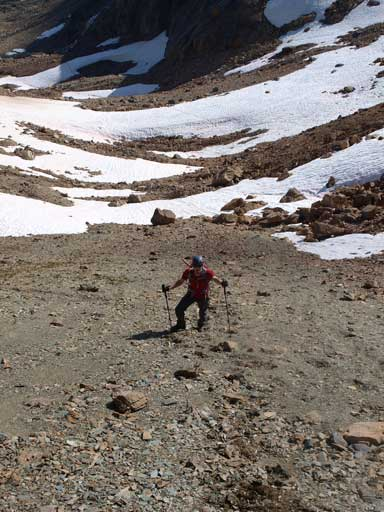 Mike, slogging up towards Isolated Col