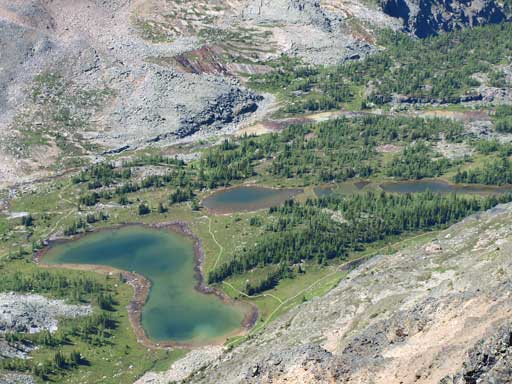 Looking down to Hungabee Lake
