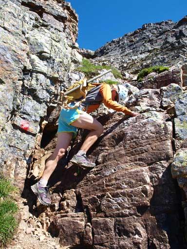 Abby down-climbing a fun step