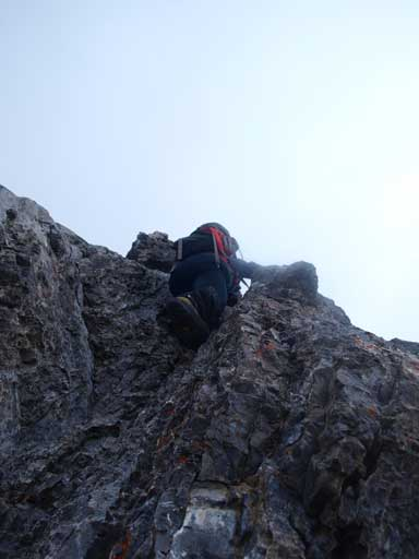 Grant scrambling up the typical terrain on this ridge