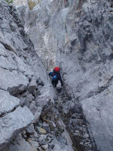 Grant challenging the crux step on this chimney