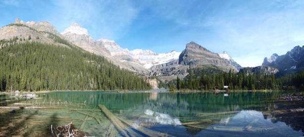 Panorama of Lake O'Hara at the end of the day