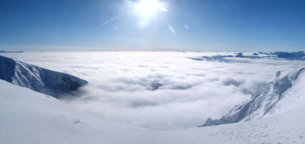 Panorama of the BC Interior side, the sea of clouds