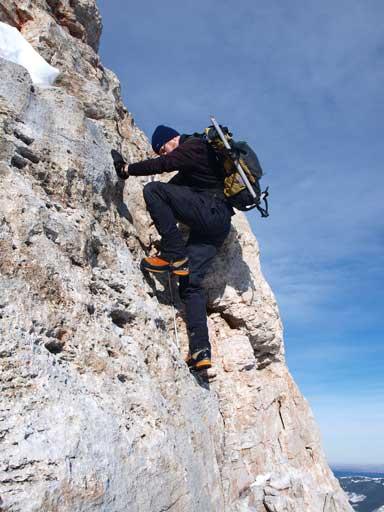 Neil down-climbing his optional challenge