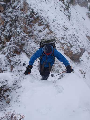 Ben ascending a step