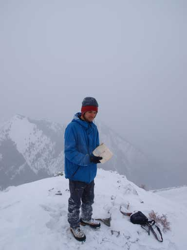 Checking out the summit register