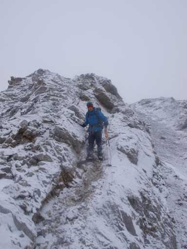 Descending the west tower. Typical condition and weather.