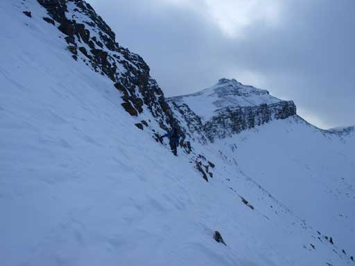 Traversing steep terrain near the ridge top