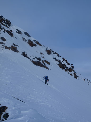 Ben traversing another steep slope.