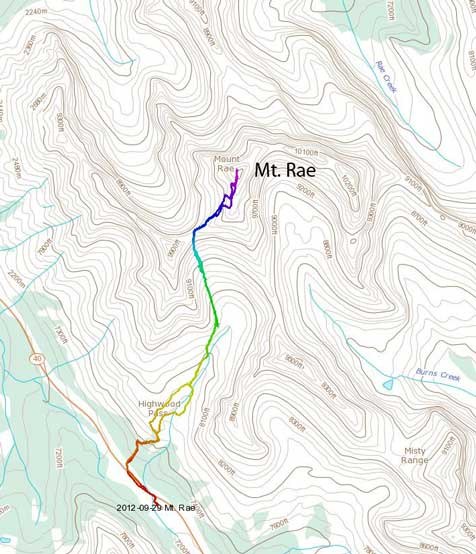Mt. Rae standard scramble route