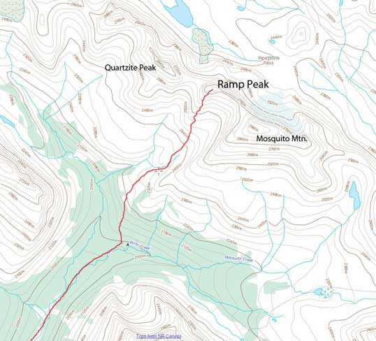 Ramp Peak ski/snowshoe ascent route