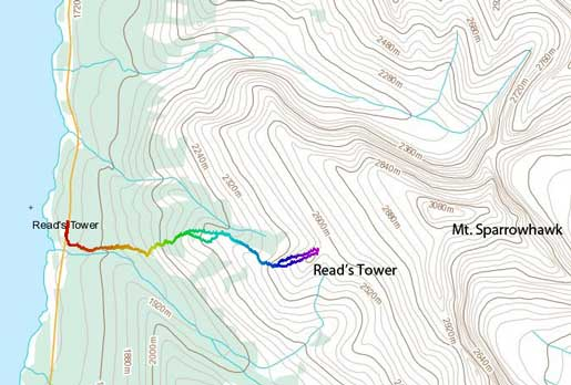 Read's Tower standard ascent route