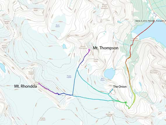 Mt. Rhondda and Mt. Thompson standard winter ascent route
