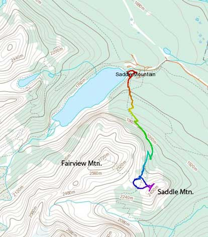 Saddle Mountain standard ascent route