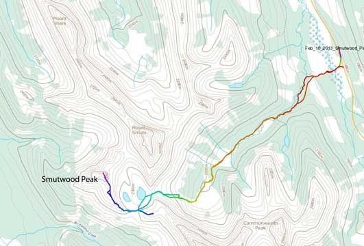 Smutwood Peak snowshoe ascent route