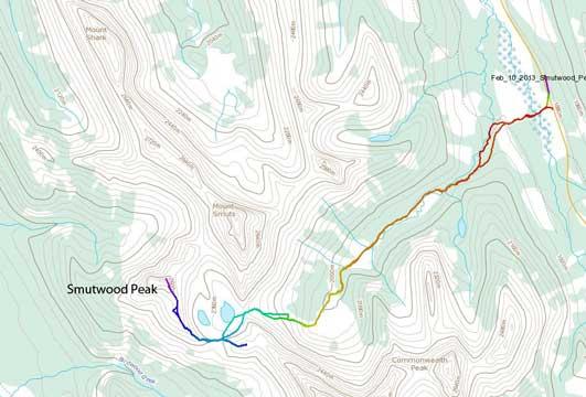 Smutwood Peak snowshoe ascent route