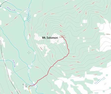 The rough line for Mt. Solomon's hiking route