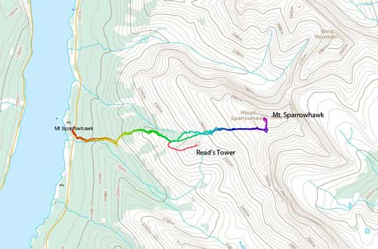 The standard scramble route for Mt. Sparrowhawk and Read's Tower