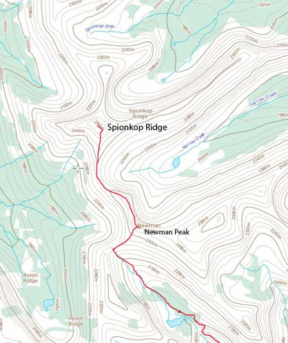 Spionkop Ridge standard scramble route from Newman Peak