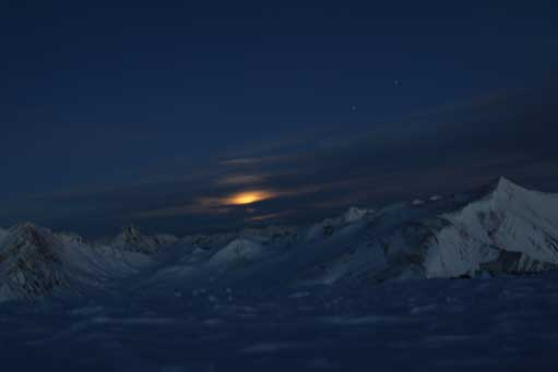 Moonset from the summit. Photo by Ben