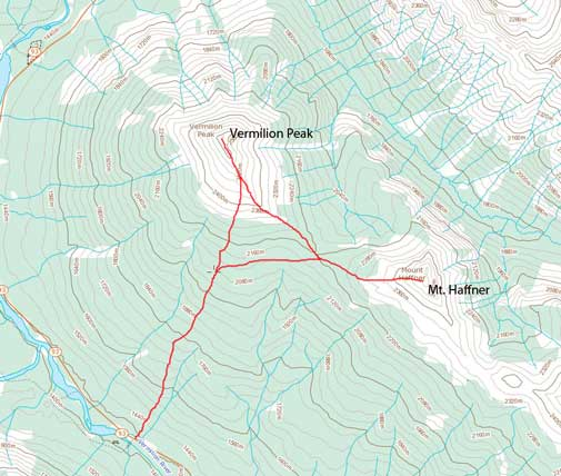 Vermilion Peak and Mt. Haffner winter ascent route