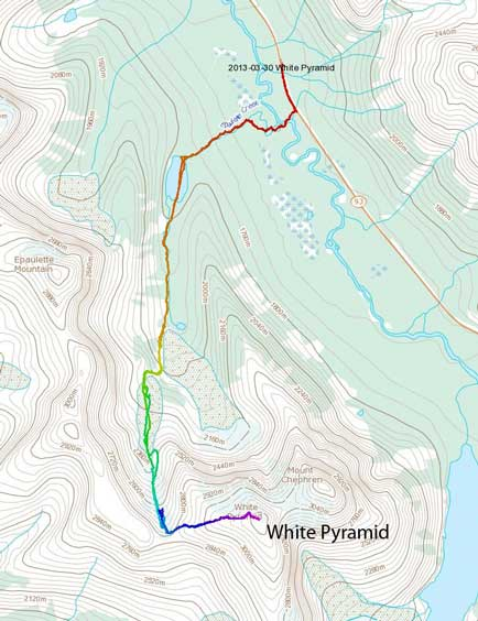 White Pyramid standard ski/snowshoe ascent route