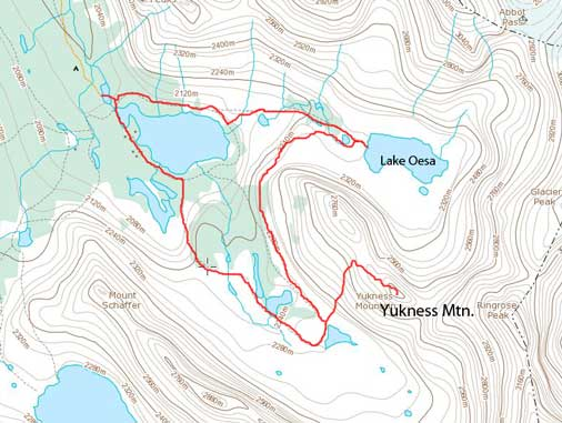 Yukness Mountain standard scramble route plus a loop via Lake Oesa