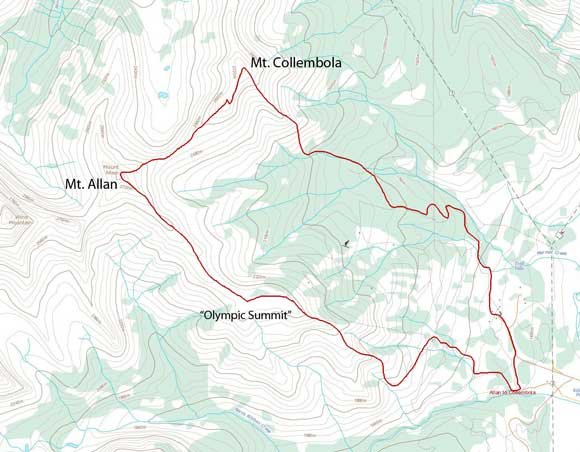 Mt. Allan to Mt. Collembola traverse route
