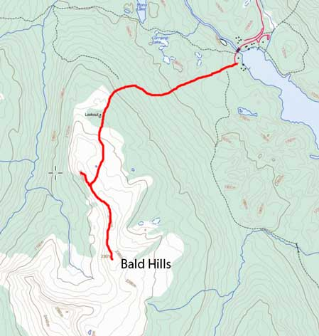 Bald Hills hiking/snowshoeing route