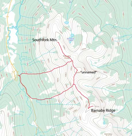 Barnaby Ridge to Southfork Mountain scramble traverse route