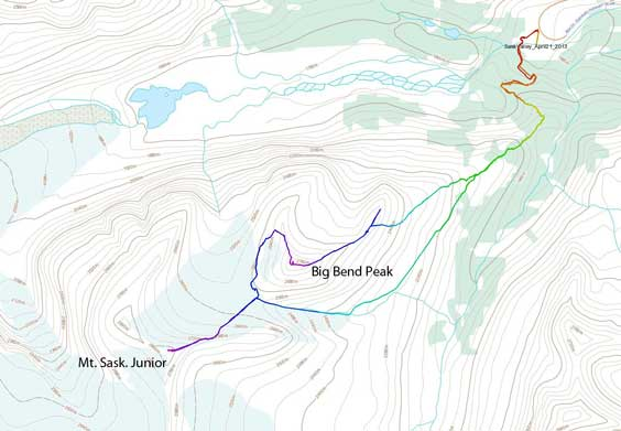 Big Bend Peak and Mt. Saskatchewan Junior snowshoe ascent route