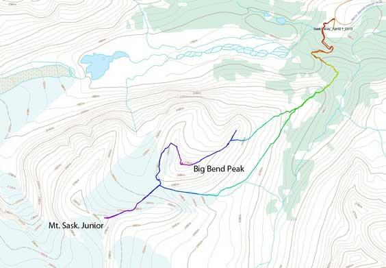 Big Bend Peak and Mt. Saskatchewan Junior snowshoe ascent route