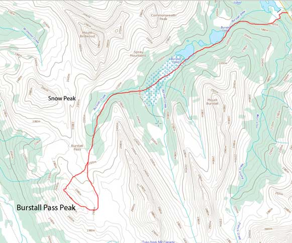 Burstall Pass Peak snowshoe/ski ascent route