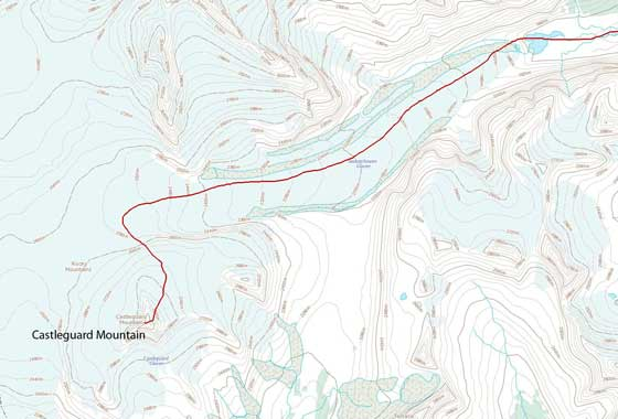 Castleguard Mountain ascent route via Saskatchewan Glacier