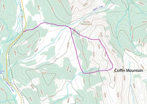 Coffin Mountain scramble route