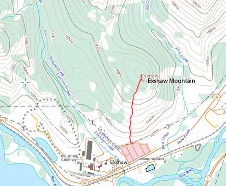 Exshaw Mountain hiking/bushwhacking ascent route