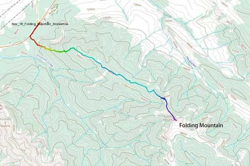 Folding Mountain hiking/snowshoeing route