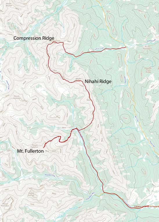 Mt. Fullerton, Nihahi Ridge and Compression Ridge scramble route link-up