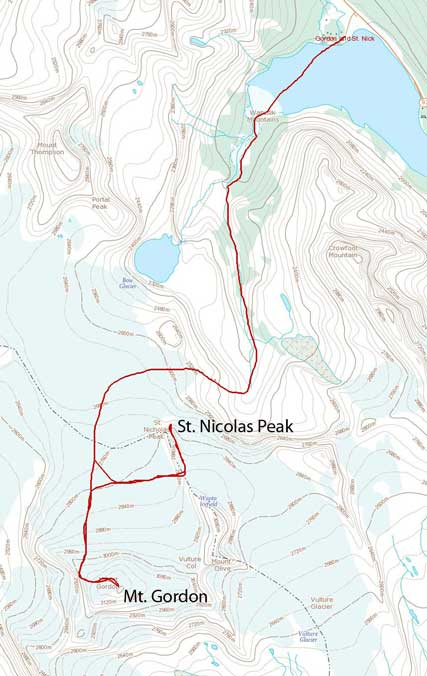 Mt. Gordon and St. Nicolas Peak snowshoe/ski ascent route