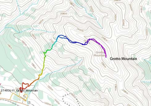 Grotto Mountain standard scramble route