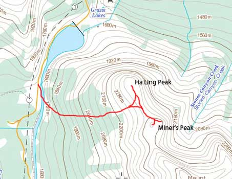 Ha Ling Peak and Miner's Peak standard scramble route