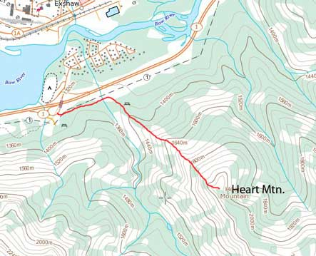 Heart Mountain standard scramble route